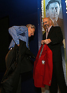 28 August 2006: Phil Anschutz (l) receives his Hall of Fame jacket from HOF president Will Lunn during his induction. The National Soccer Hall of Fame Induction Ceremony was held at the National Soccer Hall of Fame in Oneonta, New York.