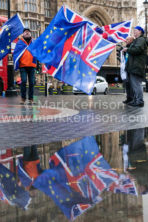 London, UK. 3rd December, 2018. Pro-EU campaigners from SODEM (Stand of Defiance European Movement) protest opposite Parliament in advance of the Attorney General's statement in the House of Commons.
