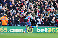 Jason Puncheon of Crystal Palace celebrates after scoring his sides 1st goal to make it 1-0. Barclays Premier League match, Crystal Palace v Norwich city at Selhurst Park in London on Saturday 9th April 2016. pic by John Patrick Fletcher, Andrew Orchard sports photography.
