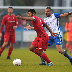 TELFORD COPYRIGHT MIKE SHERIDAN Ellis Deeney battles with Aaron Martin of Guiseley during the Buildbase FA Trophy 3Q fixture between Guiseley and AFC Telford United at Nethermoor Park on Saturday, November 23, 2019.<br /> <br /> Picture credit: Mike Sheridan/Ultrapress<br /> <br /> MS201920-031