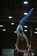 Oleg Verniaiev, Ukraine wins the Arthur Gander Memorial,  Morges, Switzerland on 1 November 2017. Here on Parallel Bars. Photo by Myriam Cawston.