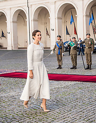 The Crown Prince couple arriving to the presidential palace in Rome. They are welcomed by Sergio Mattarella, president of the Italian Republic and his daughter Laura Mattarella, First Lady of Italy. 06 Nov 2018 Pictured: Crown Princess Mary. Photo credit: Hanne Juul/Aller Media/MEGA TheMegaAgency.com +1 888 505 6342
