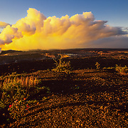 Hawaii, Kilauea Volcano, Hawaii Volcanoes NP<br /> Hale'mau''ma'u vent billowing steam, ash and fumes in Hawaii Volcanoes National Park, Hawaii.