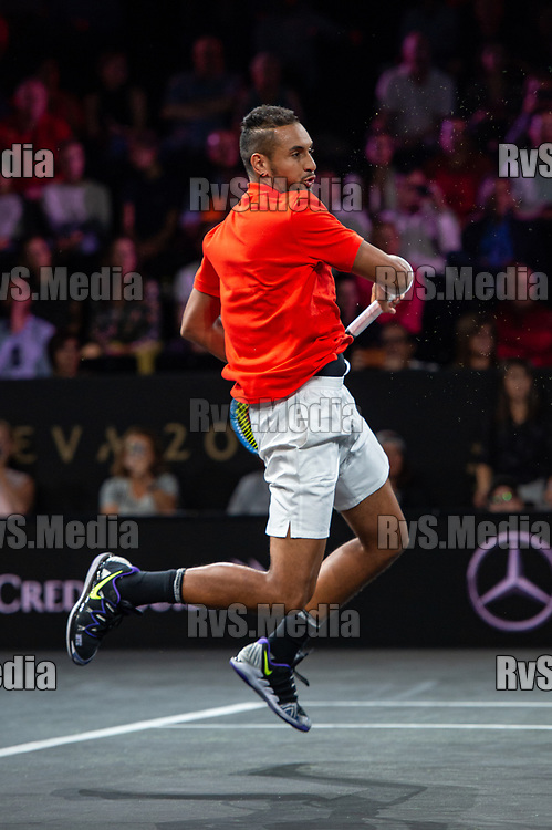 GENEVA, SWITZERLAND - SEPTEMBER 21: Nick Kyrgios of Team World in action during Day 2 of the Laver Cup 2019 at Palexpo on September 21, 2019 in Geneva, Switzerland. The Laver Cup will see six players from the rest of the World competing against their counterparts from Europe. Team World is captained by John McEnroe and Team Europe is captained by Bjorn Borg. The tournament runs from September 20-22. (Photo by Monika Majer/RvS.Media)