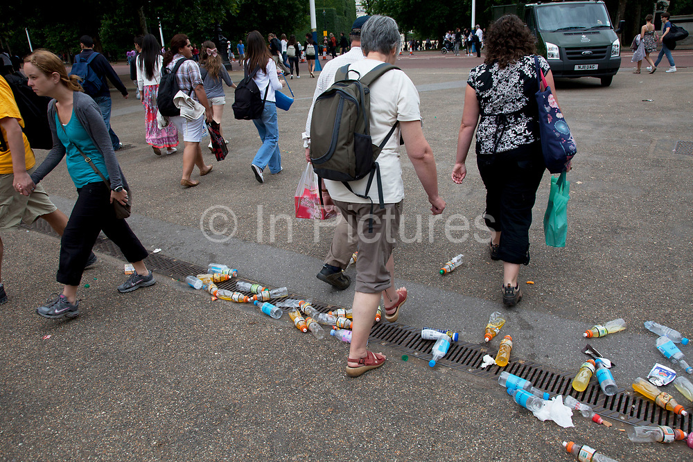 Rubbish in great quantities which has collected on a busy summer weekend in Central London. Trash on this scale is common especially during busy weekends as litter levels increase while public services fail to clean it up.