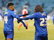Gillingham midfielder Bradley Dack and Gillingham forward Dominic Samuel perform a rehearsed celebration together during the Sky Bet League 1 match between Gillingham and Barnsley at the MEMS Priestfield Stadium, Gillingham, England on 13 February 2016. Photo by Andy Walter.