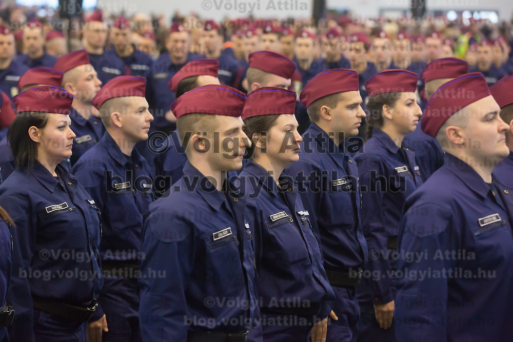 Police officers who applied for the border hunter service take their oath in Budapest, Hungary on January 12, 2017. ATTILA VOLGYI