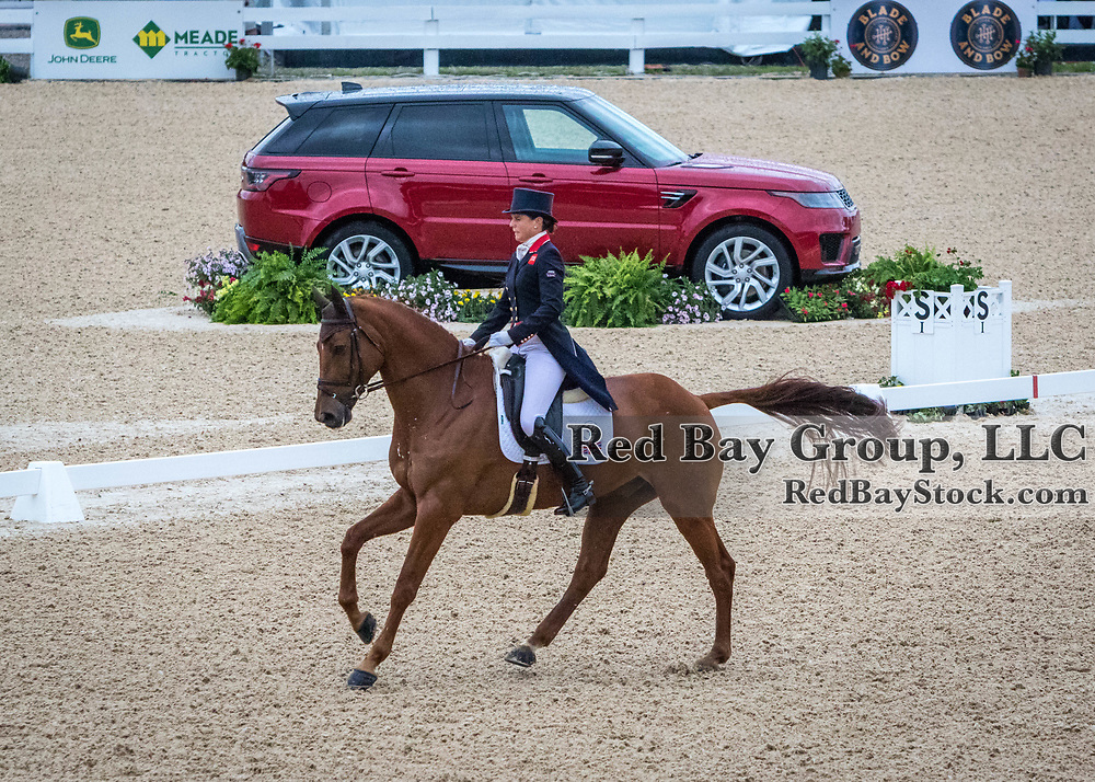 Piggy French (GBR) and Quarrycrest Echo during the second day of dressage at the 2019 Land Rover Kentucky Three-Day Event presented by MARS EQUESTRIAN in Lexington, Kentucky.