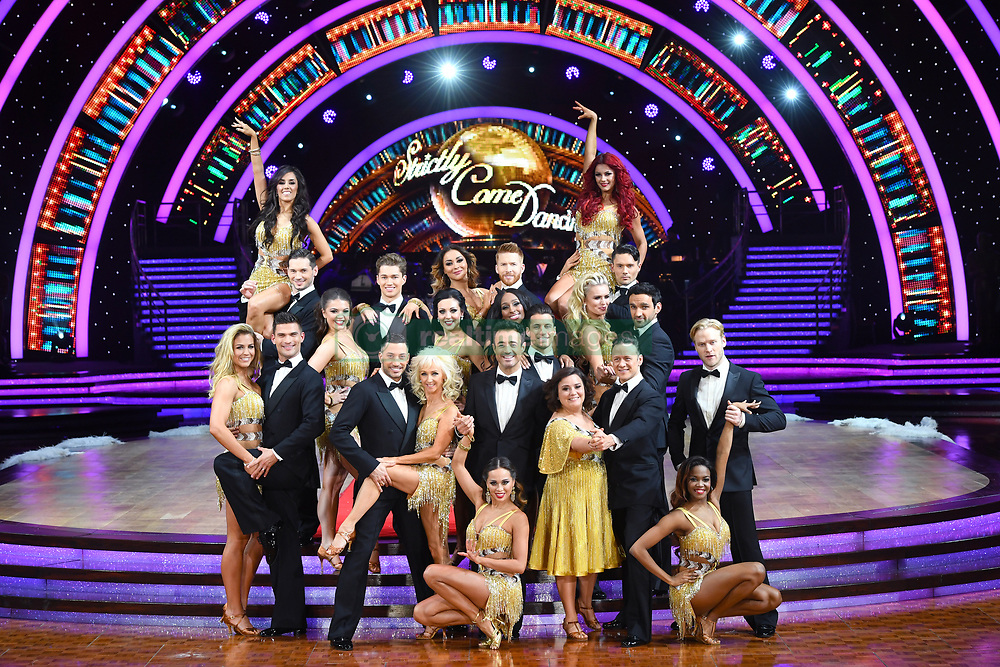 Front Row (left to right) Gemma Atkinson and Aljaz Skorjanec, Debbie McGee and Giovanni Pernice, Joe McFadden and Katya Jones, Alexandra Burke and Gorka Marquez, Susan Calman and Kevin Clifton, Davood Ghadami and Nadiya Bychkova and Jonnie Peacock and Oti Mabuse during the Strictly Come Dancing Live Tour Launch held at Arena Birmingham.