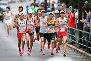 Kengo Suzuki, Yuma Hattori, Suguru Osako, Shohei Otsuka and Shogo Nakamura lead the men's race during the Marathon Grand Championship, Sunday Sept. 15 2019, in Tokyo. Nakamura won in 2:11:28, followed by Hattori in 2:11:36 and Osako in third in 2:11:41. (Agence SHOT/Image of Sport)