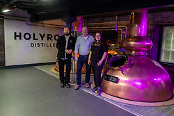 Pictured: Elizabeth Machin and Jack Mayo, (black jacket) distillers were joined by founder Rob Carpenter<br />