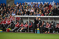 Swansea city manager Garry Monk makes his points to the 4th official. Barclays Premier league match, Swansea city v Arsenal  at the Liberty Stadium in Swansea, South Wales  on Saturday 31st October 2015.<br /> pic by  Andrew Orchard, Andrew Orchard sports photography.