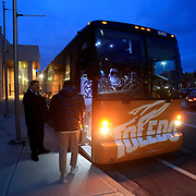 Tad Dunlap, with Blue Lakes Charter, makes sure everybody boards the bus before heading to team dinner in Muncie, Ind., on Friday, February 16, 2018.THE BLADE/KURT STEISS