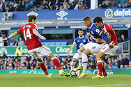 Ross Barkley of Everton gets between Marten de Roon (l) and Daniel Ayala of Middlesbrough. Premier league match, Everton v Middlesbrough at Goodison Park in Liverpool, Merseyside on Saturday 17th September 2016.<br /> pic by Chris Stading, Andrew Orchard sports photography.