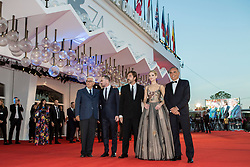 """Paolo Baratta (President of Biennale), Darren Aronofsky, Javier Bardem, Jennifer Lawrence, Alberto Barbera (chairman of the Mostra) arriving to the premiere of """"Mother"""" as part of the 74th Venice International Film Festival (Mostra) in Venice, Italy on September 5, 2017. Photo by Marco Piovanotto/ABACAPRESS.COM"""