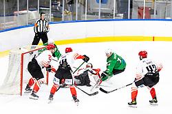 Martin Bohinc of HK SZ Olimpija vs Zan Us of HDD SIJ Acroni Jesenice during ice hockey match between HK SZ Olimpija and HDD SIJ Acroni Jesenice in first game of Final at Slovenian National League, on April 30, 2020 in Hala Tivoli, Ljubljana, Slovenia. Photo by Matic Klansek Velej / Sportida