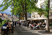 Riverside bars on both sides of Cankarjevo Nabrezje in the Slovenian capital, Ljubljana, on 25th June 2018, in Ljubljana, Slovenia.