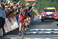 Sykkel<br /> Foto: PhotoNews/Digitalsport<br /> NORWAY ONLY<br /> <br /> LA PLANCHE DES BELLES FILLES - JULY 7:   Cadel Evans (Aus) of BMC Racing Team and Bradley Wiggins (GBr) of Sky Procycling Team crosses the finish line at the end the finish line at the end of  stage six of the Tour de France from Tomblaine to La Planche des Belles Filles on July 7, 2012 in La Planche des Belles Filles, France