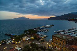 Sorrento, Italy, September 20 2017. Mount Vesuvius photographed across the Bay of Naples from Sorrento, Italy,  as day breaks . © Paul Davey