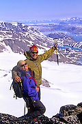 EAST GREENLAND, mountaineering, Annie & Tom, view of glacier, Johan Peterson Fjord