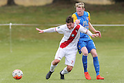 Waitakere United's Stefan Thelen left, and Southern United's Ross Howard, right, compete for the ball in the Stirling Sports Premiership football match, Peter Johnstone Park, Mosgiel, New Zealand, Saturday, January 21, 2017. © Copyright photo: Adam Binns / www.photosport.nz