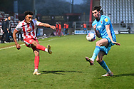 Stevenage defender Remeao Hutton(12)  crosses the ball  during the EFL Sky Bet League 2 match between Stevenage and Cheltenham Town at the Lamex Stadium, Stevenage, England on 20 April 2021.