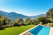 Architecture, modern villa, swimming pool view