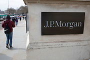 Sign for J.P. Morgan on 7th March 2020 in London, United Kingdom. JPMorgan Chase & Co. is an American multinational investment bank and financial services holding company headquartered in New York. JPMorgan Chase is ranked by S&P Global as the largest bank in the United States and the sixth largest bank in the world by total assets.