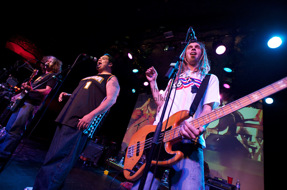 2010 April 30 - Jehua Evans, right, Peni Pua'auli, center, and Wayne Enos of Honolulu reggae band Natural Vibrations performs at The Showbox at the Market in Seattle, WA, USA. Photo by Richard Walker