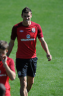 Gareth Bale of Wales in action.Wales football players training at the Vale, in Cardiff on Wed 5th Sept 2012, ahead of their forthcoming World cup qualifier against Belgium on Friday 8th Sept.  pic by  Andrew Orchard, Andrew Orchard sports photography,