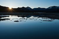 Sunrise over mountains from Tuolumne meadows, Yosemite national park, California