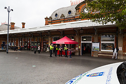 GWR hold a promotion at Slough station affording the travelling public the opportunity to interact with various sectors of the emergency services including police, fire and ambulance. Slough, Berkshire, July 30 2019.