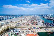 Nederland, Zuid-Holland, Rotterdam, 10-06-2015; Europaweg met zicht op ECT Deltaterminal en Amazonehaven (rechts). Links de Europahaven met APM Terminals.<br /> Containers terminals APM and ECT on Maasvlakte, Port of Rotterdam.<br /> luchtfoto (toeslag op standard tarieven);<br /> aerial photo (additional fee required);<br /> copyright foto/photo Siebe Swart