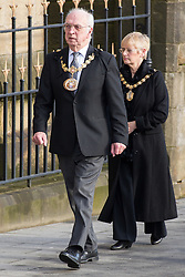 © Licensed to London News Pictures . 16/01/2014 . Salford , UK . The ceremonial mayor and mayoress of Salford arrive at the funeral . The funeral of Labour MP Paul Goggins at Salford Cathedral today (Thursday 16th January 2014) . The MP for Wythenshawe and Sale East died aged 60 on 7th January 2014 after collapsing whilst out running on 30th December 2013 . Photo credit : Joel Goodman/LNP