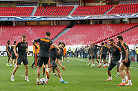 Real Madrid's Asier Illarramendi,  Xabi Alonso, Nacho Fernandez, Sergio Ramos and Daniel Carvajal during training session previous to the UEFA Champions League 2013/2014 Final match.May 23,2014. (ALTERPHOTOS/Acero)