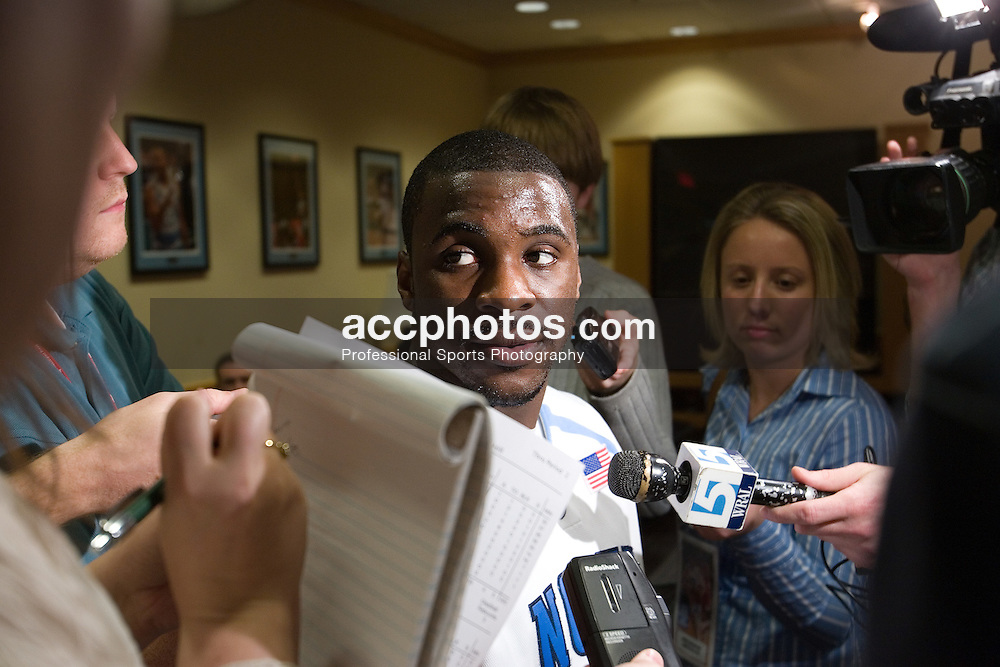 28 December 2006: North Carolina Tar Heel guard (5) Ty Lawson in a post-game press conference after a 87-48 Rutgers Scarlet Knights loss to the North Carolina Tarheels, in the Dean Smith Center in Chapel Hill, NC.<br />