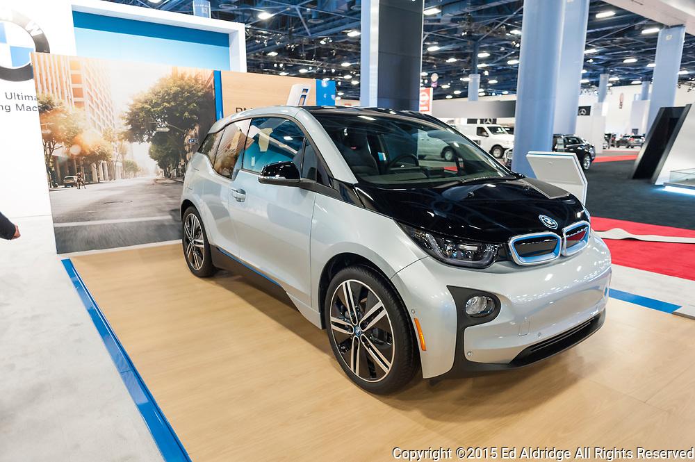 MIAMI BEACH, FL, USA - NOVEMBER 6, 2015:  BMW i3 electric car on display during the 2015 Miami International Auto Show at the Miami Beach Convention Center in downtown Miami Beach.