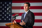 Wisconsin Governor and GOP presidential candidate Scott Walker gives a foreign policy speech to cadets at the Citadel military college August 28, 2015 in Charleston, South Carolina. Walker criticized Hillary Clinton as unfit for the presidency because of her role in negotiating with Iran and her use of a private email system.