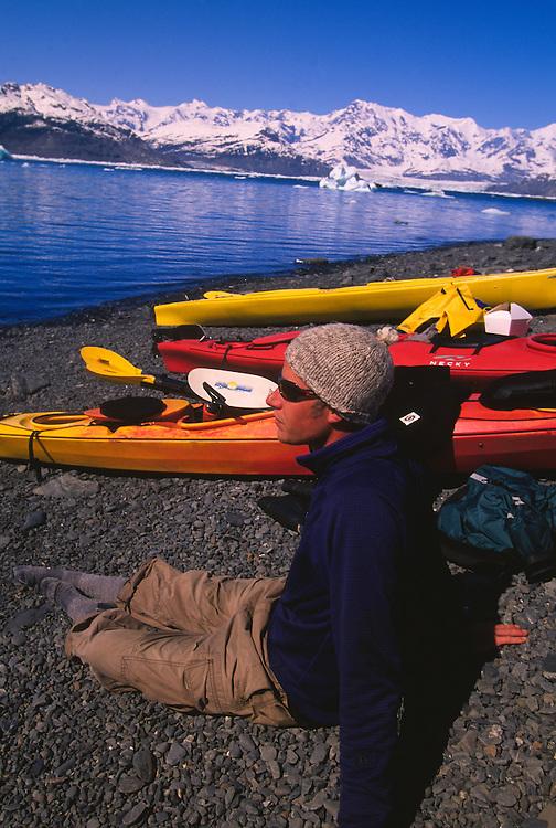 Sea kayaking in Columbia Bay, Prince William Sound, near Valdez, Alaska