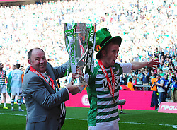 Yeovil Town Manger, Gary Johnson and Yeovil Town's goal scorer Paddy Madden celebrate Yeovil Town's promotion into the Npower Championship after winning the League 1 Play-Off Final - Photo mandatory by-line: Dougie Allward/JMP - Tel: Mobile: 07966 386802 19/05/2013 - SPORT - FOOTBALL - LEAGUE 1 - PLAY OFF - FINAL - Wembley Stadium - London - Brentford V Yeovil Town
