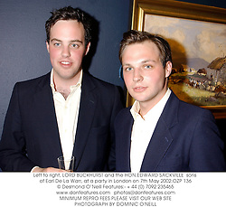 Left to right, LORD BUCKHURST and the HON.EDWARD SACKVILLE  sons of Earl De La Warr, at a party in London on 7th May 2002.	OZP 136
