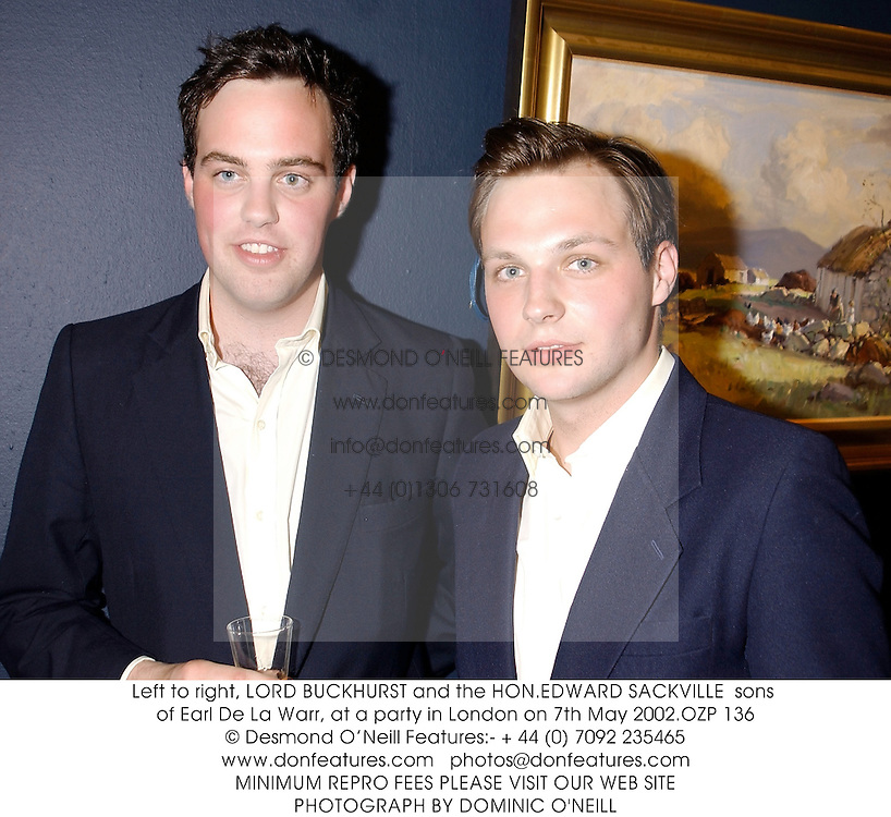 Left to right, LORD BUCKHURST and the HON.EDWARD SACKVILLE  sons of Earl De La Warr, at a party in London on 7th May 2002.OZP 136
