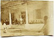 mansion with people waiting, Tegaron, Java, Indonesia 1915