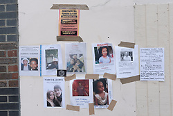 June 17, 2017 - London, UK - London, UK. 17th June 2017. Posters on lamp posts, walls and noticeboards display the poignant images of those missing from the disastrous fire in the tower block which had been clad with flammable material, and had no working fire alarm system. The whole area around the tower is still cordoned off, but the grisly blackened hulk of Grenfell Tower dominates. Outside the Methodist Church an area has been set aside for candles, tributes and flowers for those dead and missing, now presumed dead, whose numbers are now thought to be over 150. Peter Marshall ImagesLive (Credit Image: © Peter Marshall/ImagesLive via ZUMA Wire)
