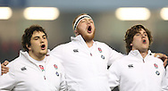 Charlie Beckett (Leicester Tigers) sings the national anthem during the 2015 Under 20s 6 Nations match between England and France at the American Express Community Stadium, Brighton and Hove, England on 20 March 2015.