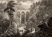 Road bridge across Mouse Water, at Cartland Crags (Cartlane Craigs), near Lanark, Scotland. Built by the Scottish civil engineer Thomas Telford (1757-1834), it was completed in 1822.  Engraving after the picture by John Fleming (active 1830).