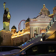 The Statue of Liberty wears a face mask and Las Vegas Raiders jersey in front of New York New York hotel on the Las Vegas Strip in Las Vegas, Nevada on Thursday, October 15, 2020. (Alex Menendez via AP)