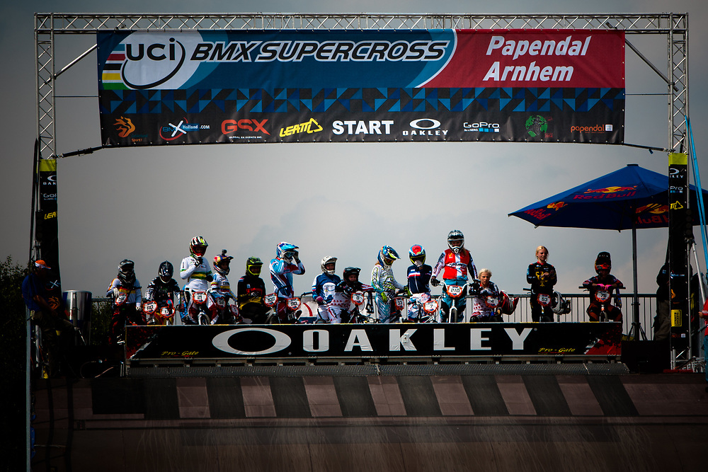 The start ramp at the UCI BMX Supercross World Cup in Papendal, Netherlands.