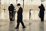 Religious Jews praying at the Western ('Wailing') Wall, Jerusalem, Israel