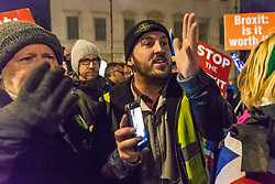"James Goddard, a pro-Brexit campaigner argues with pro-Remain campaigners as they disembark a bus emblazoned with ""Bollox to Brexit"" as it arrives at Steve Bray's ongoing pro-remain protest at Old Palace Yard outside Parliament. Westminster, London, December 20 2018."